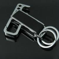 Brand promotional gift print logo leather keychain