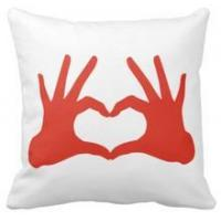 Quality Pillow love,red hand with heart sign throw cushions pillows for sale