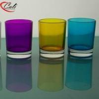 Glass candle holder & jar Colorful glass votive elegant candle holder inside printing