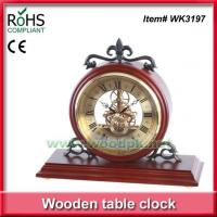 WK3197Plant themed decor style mechanical design wooden desk clock
