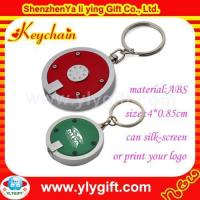 Quality Round logo plastic led keychain for promotion gift KC-00540 for sale
