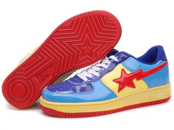 Buy Bape Cartoon shoes blue / yellow / red at wholesale prices