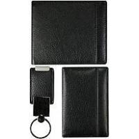 Quality Genuine cow leather short wallet, card holder and key chain set CSET02S Black for sale