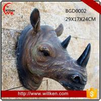 Animal Statues Artificial 3D polyresin wall art rhinoceros decoration