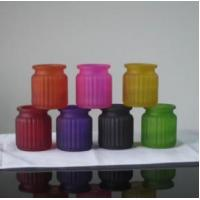 China DX-15120 Set Of 6 Painted Mini Frosted Glass Candle Jar on sale