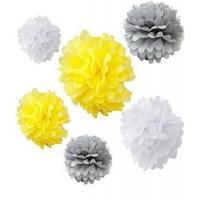 China Mixed White Gray Yellow Tissue Paper Flower Pom Poms on sale