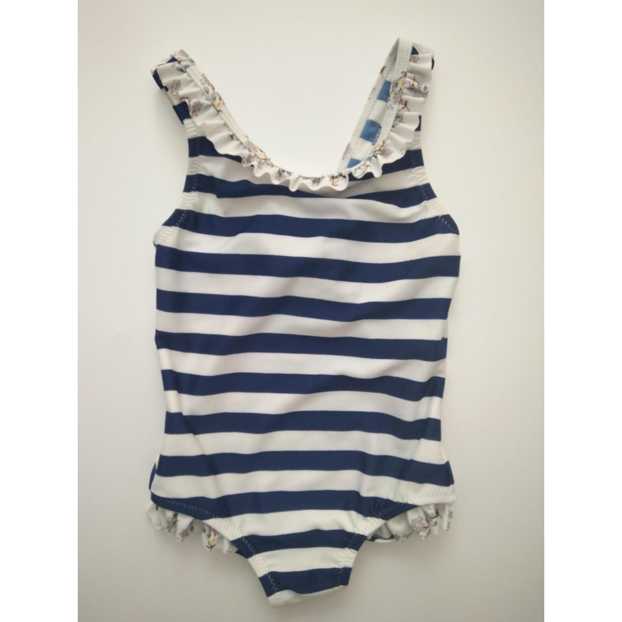 Quality KIDS SWIMSUITS White and navy stripe one-piece for sale