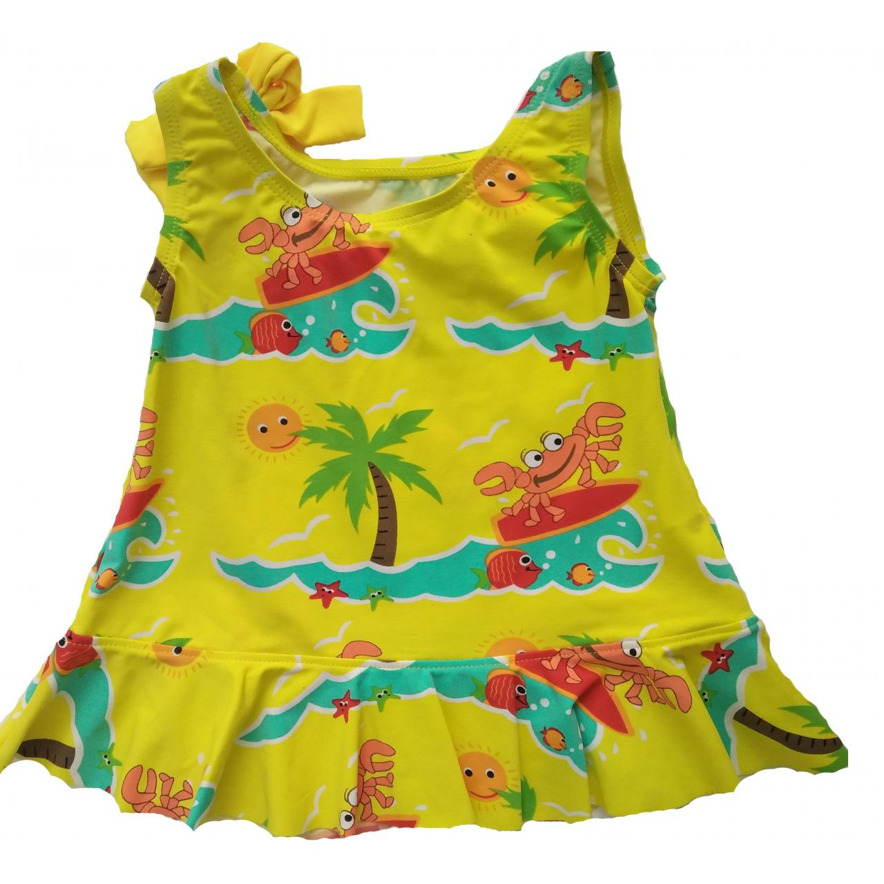 Quality KIDS SWIMSUITS palm print skirt shape one piece for sale