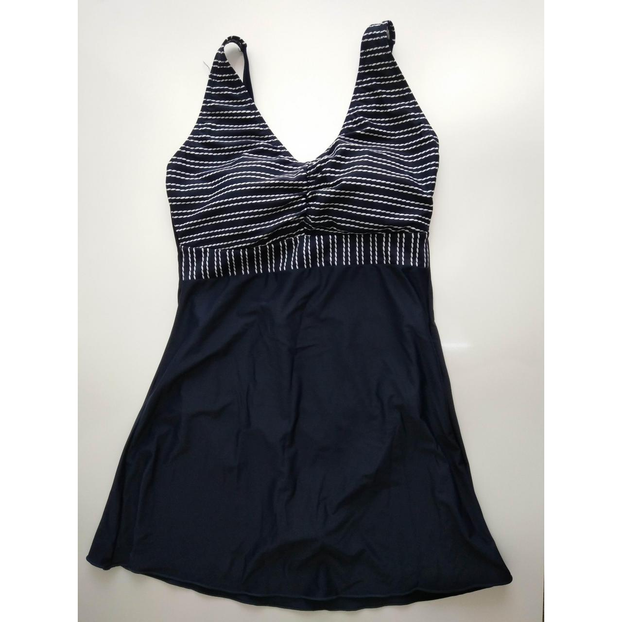 Quality LADIES SWIMSUITS ladies white and navy stripe top and solid navy bottom skirt one piece for sale