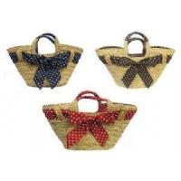 Quality Bags New Retro 1940's 50's style Polka Dot Straw Beach Picnic Shopping Basket Bag for sale