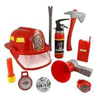 Buy 10 Pcs Fireman Gear Firefighter Costume Role Play Toy Set for Kids with Helmet and Accessories at wholesale prices