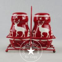 Quality Christmas Ceramic Christmas Reindeer Ceramic Slat N Pepper With Metal Stand Wholesale for sale