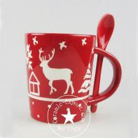 Quality Christmas Ceramic Wholesale Christmas Reindeer Ceramic Mug With Spoon Supplier for sale
