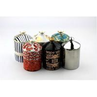 Buy cheap Ceramic candle jar High ceramic candle holder with beautiful printing from wholesalers