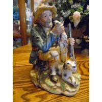 Art Glass Large vintage Norleans hunter and his dog figurine