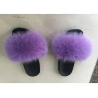 China Dyed Color Ladies Fluffy SlippersFor Summer , Spring Cute Womens Slippers on sale