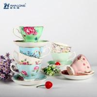 Cup and Saucer Pretty design ceramic fine bone china coffee cups and saucers with rural style