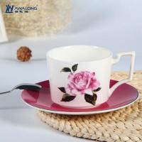 Quality Cup and Saucer Unique design rose decal fine bone china cups with saucer for sale