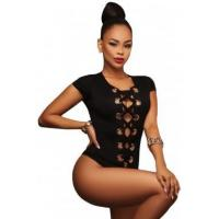 Quality Best Sellers Black Lace up Front Bodysuit for sale