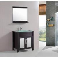 Buy cheap Tempered Glass Top 30-inch Single Sink Bathroom Vanity with Mirror and Faucet from wholesalers
