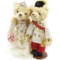 China 36cm Wedding Couple Bear Teddy Bear Plush Toys Wholesale Wedding Gift 2pcs/pair(Brown) on sale