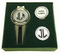 China Christmas-Top 15 Gifts Personalized Divot Tool and Hat Clip Golf Ball Marker Set on sale