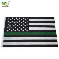 Buy Canvas Header and Double Stitched Thin Green Line Flag USA at wholesale prices