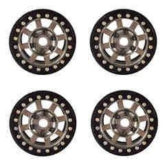 "Buy DJX 4PCS Metal 1.9"" Beadlock Wheel Rims for 1/10 RC Crawler Axial SCX10 90046 (Black&Gold) at wholesale prices"