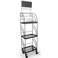 Quality Drink Displays 14inches w Metal Shelving Display w/ Wheels, 3 Shelves & Header - Black DSN12279 for sale