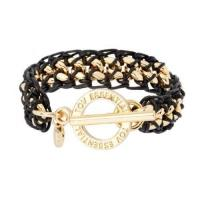 Buy cheap small flatchain tiny waxed cord gold black bracelet from wholesalers