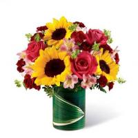 China Sunflowers And Pink Roses Bouquet on sale