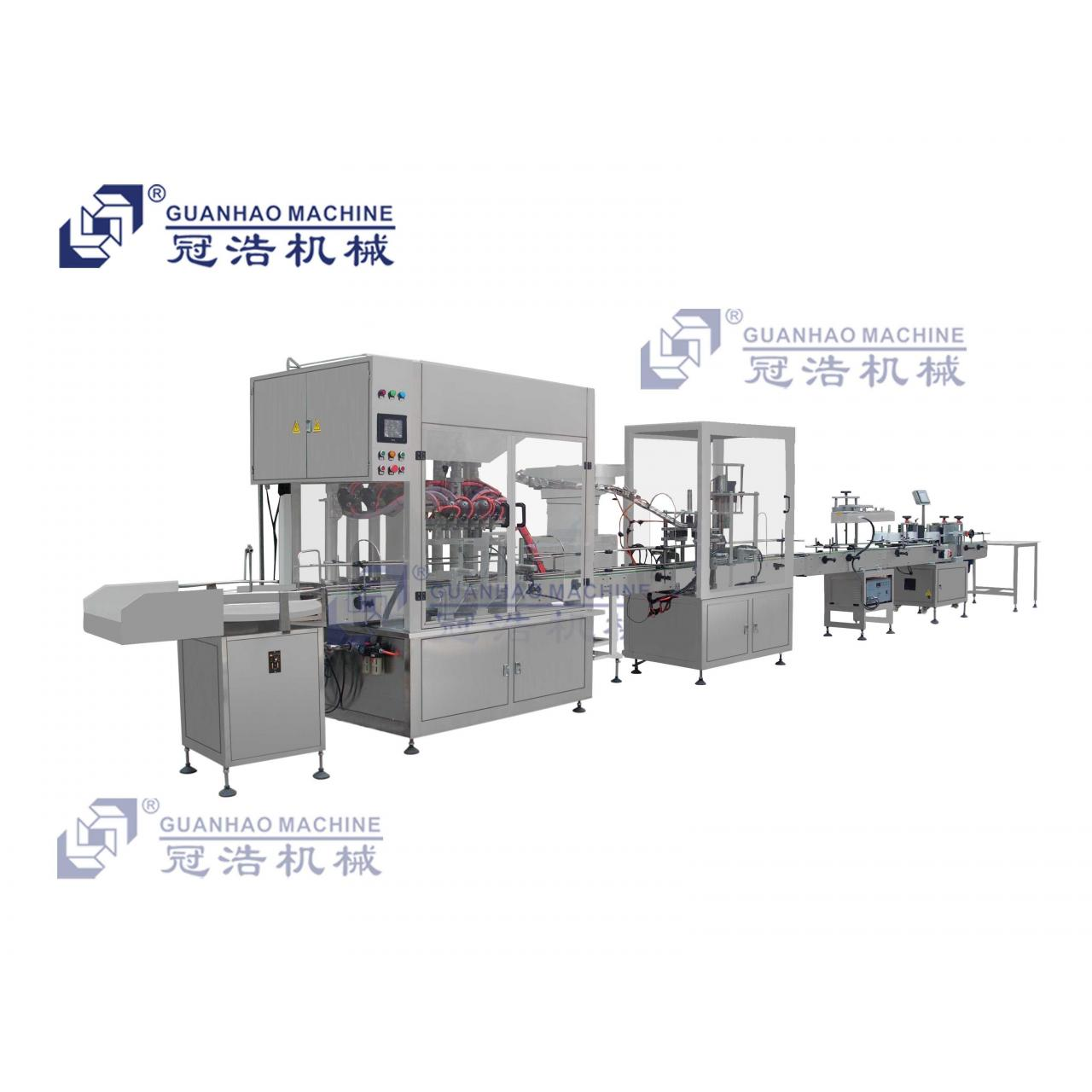 Quality 6 heads filling, press and screw capping production line for sale