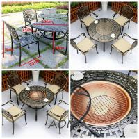 China cast alu.chair and table Cast Aluminium Garden Furniture With Fire Pit on sale