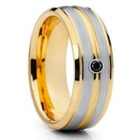 fashion jewelry 8mm gold tungsten ring mens wedding bands with black cz